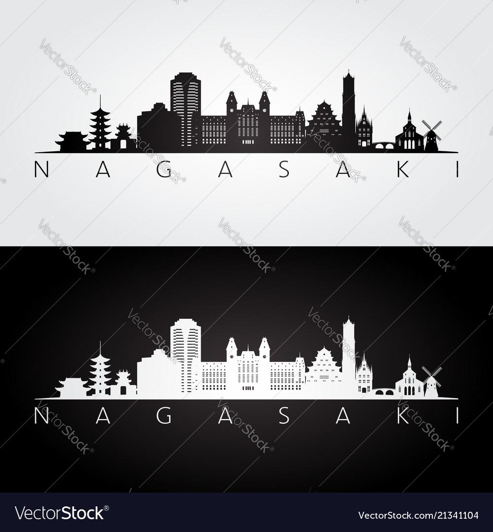 Nagasaki skyline and landmarks silhouette