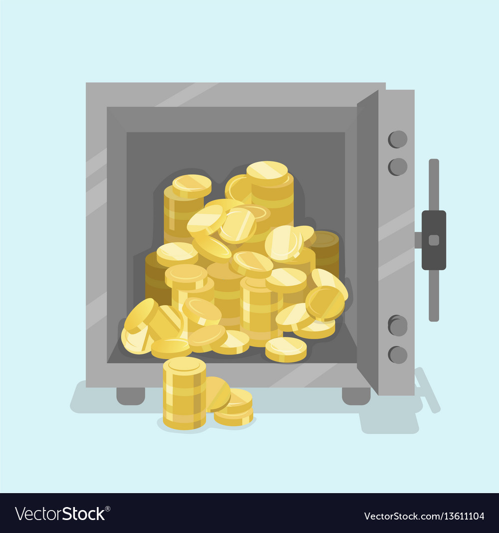 Opened safe with coins in front view flat style