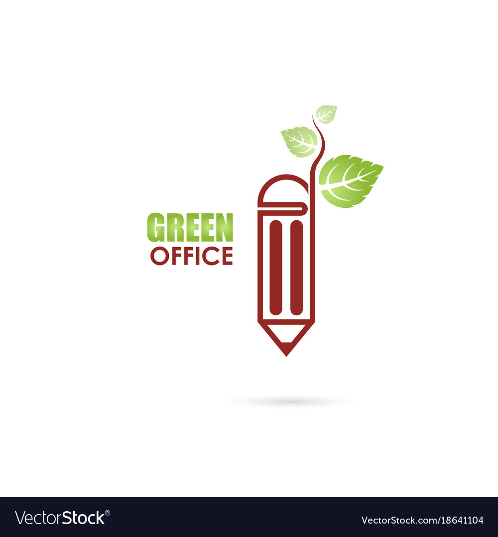 Pen or pencil sign and green leafs icon logo