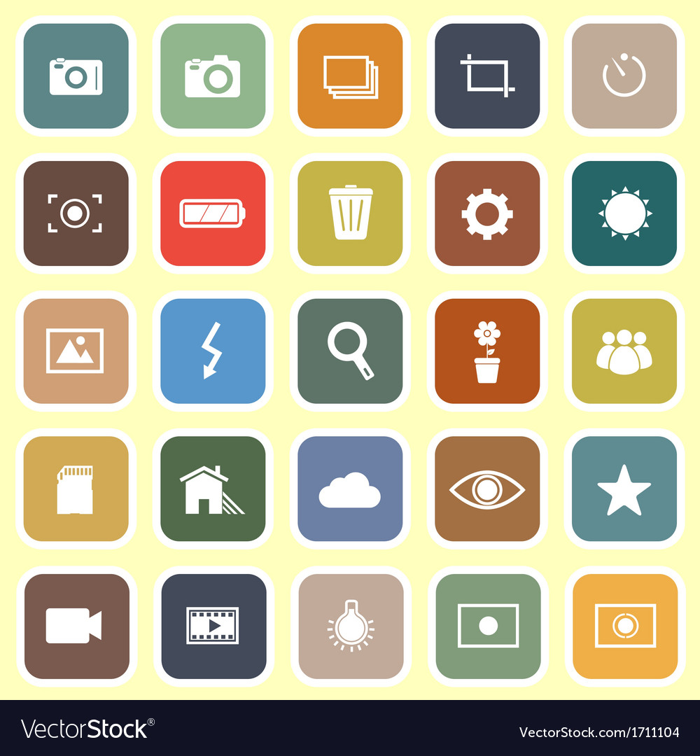 Photography flat icons on light background