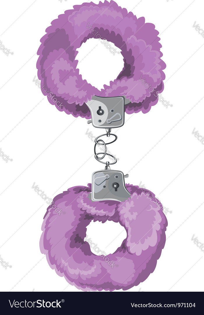 Violet sexual toy handcuffs vector image