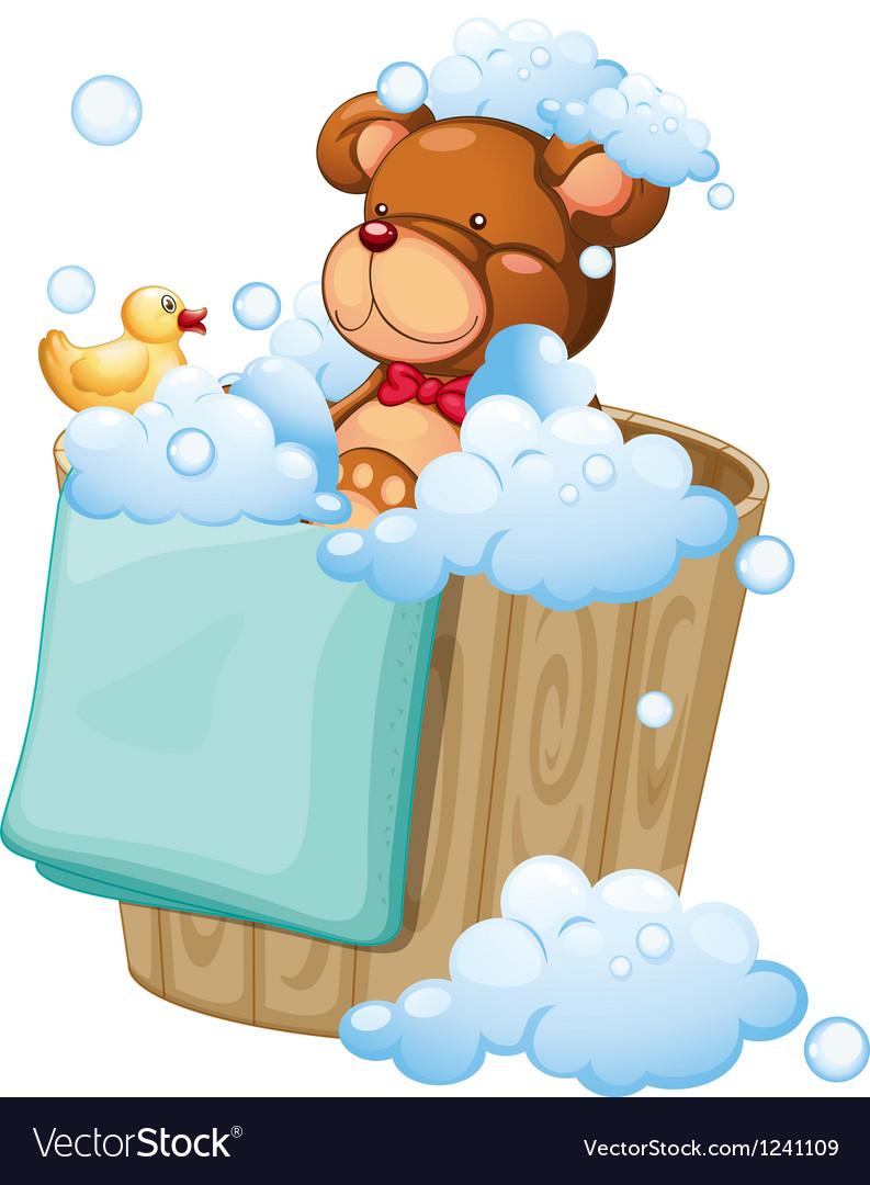 A bear taking a bath