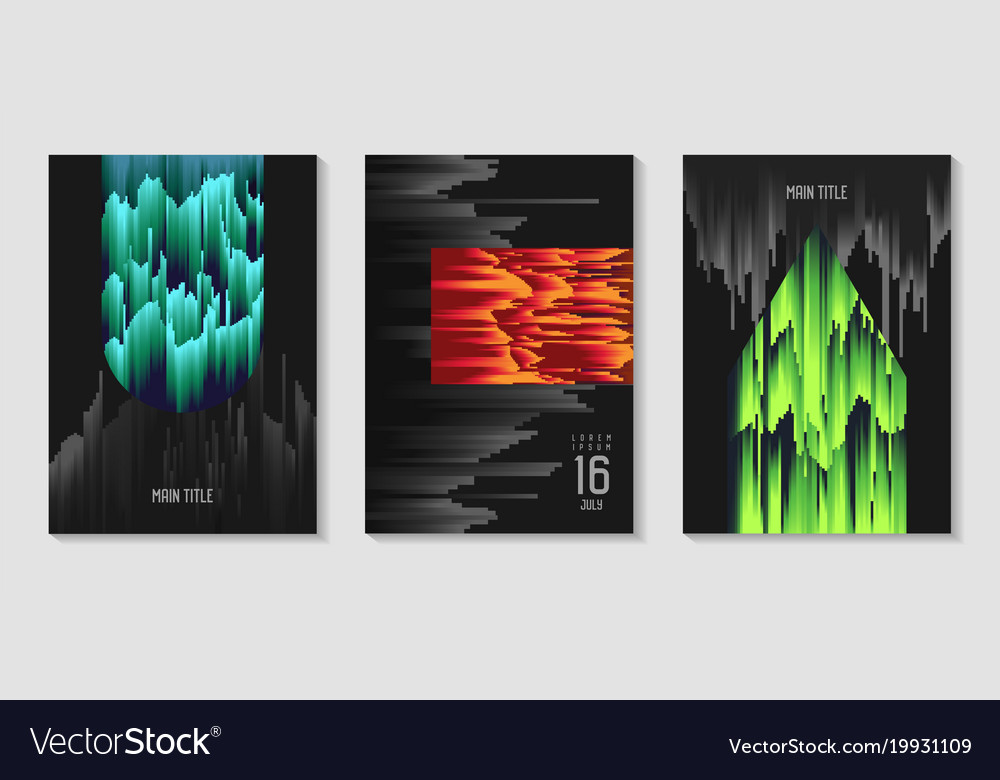 Abstract design set in glitch style trendy