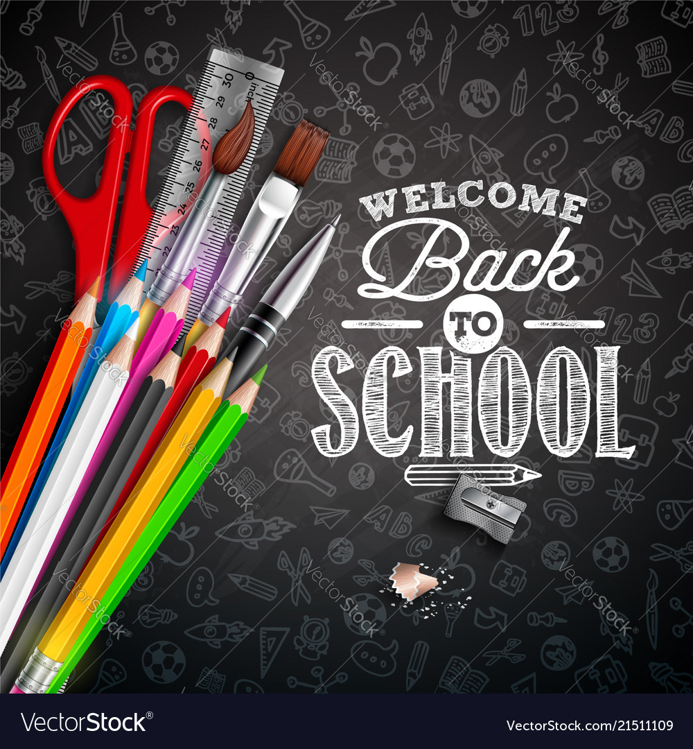 Back to school design with colorful pencil