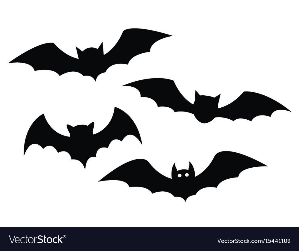 Black bats set on a white background vector image