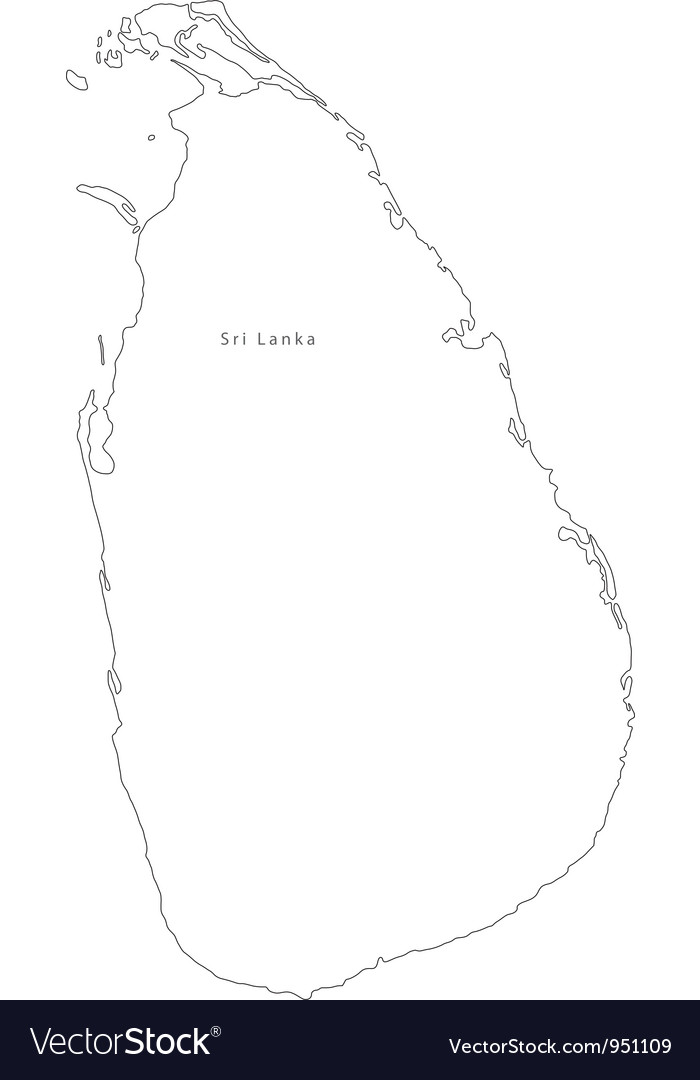Black White Sri Lanka Outline Map vector