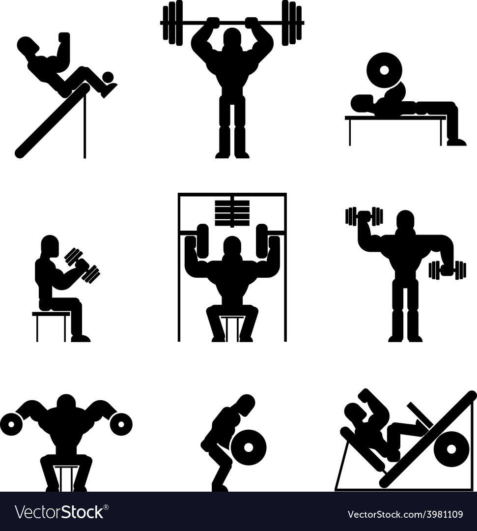 Bodybuilding and Weightlifting Icons vector image