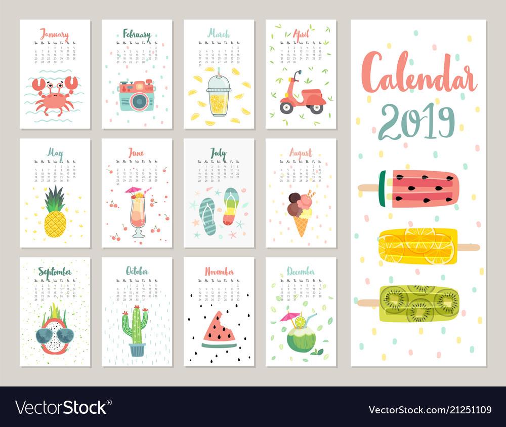 Calendar 2019 cute monthly calendar with