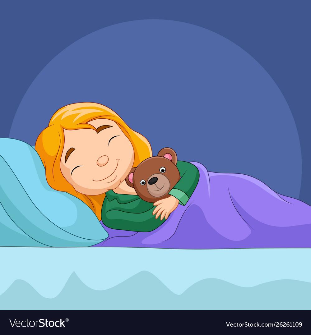 Cartoon Little Girl Sleeping With Stuffed Bear Vector Image