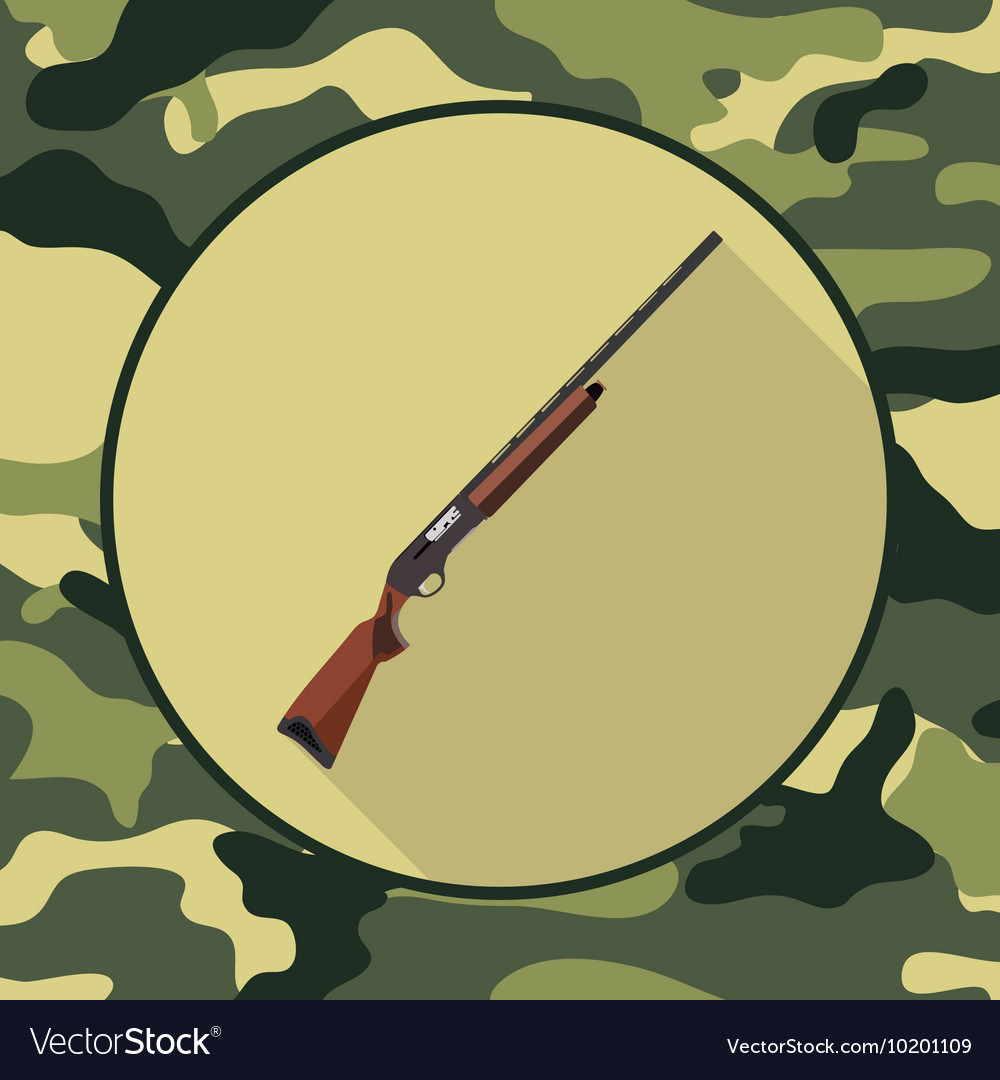 Flat icon shotgunitem in camouflage vector image
