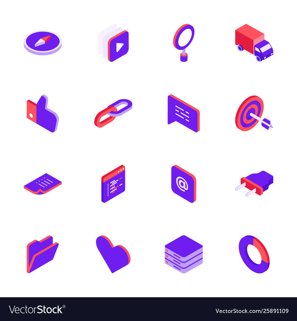 Isometric social media icons set