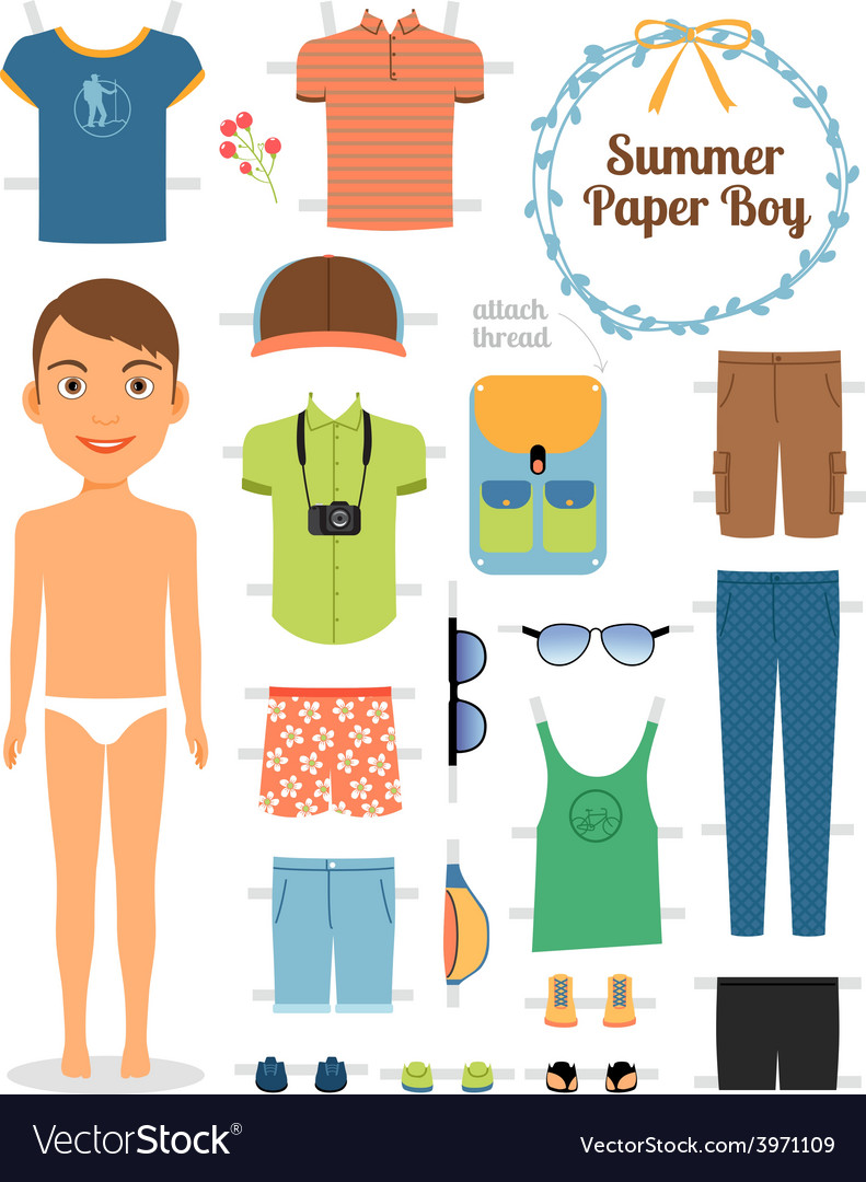 Paper doll boy in summer clothes and