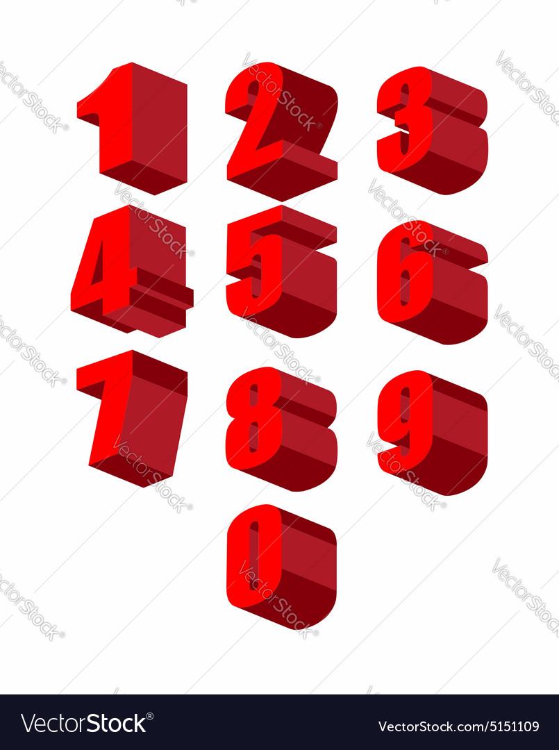 Set 3D red numbers set Zero to ten