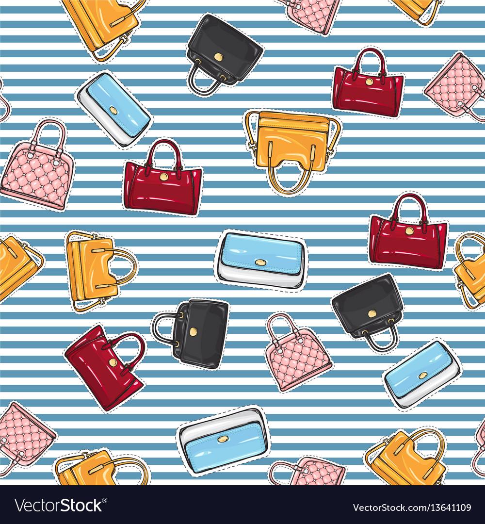 Set of different women handbags endless texture