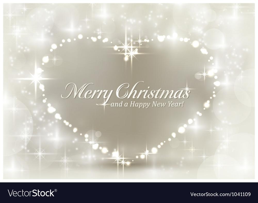 Christmas Heart Vector.Silver Sparkling Christmas Heart
