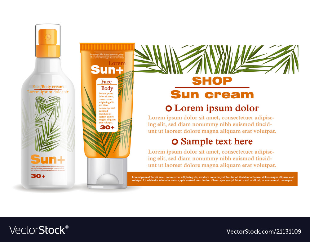 Sun cream and lotion protection mock up