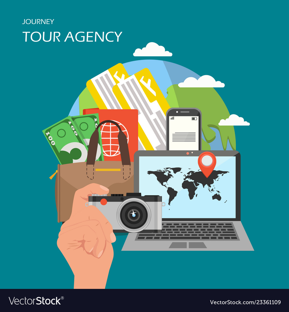 Tour agency poster banner flat