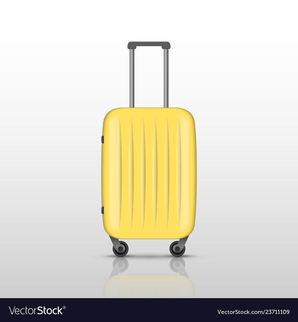 Yellow travel suitcase with reflec shadow