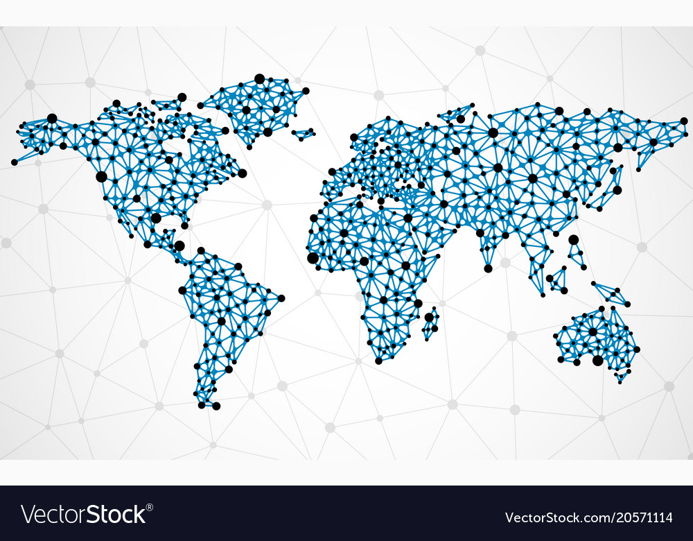 Abstract polygonal world map with dots and lines vector image gumiabroncs Choice Image