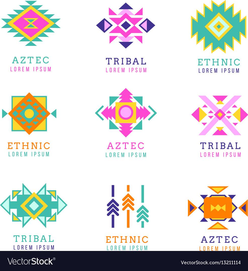 Aztec or apache motif style logo set native