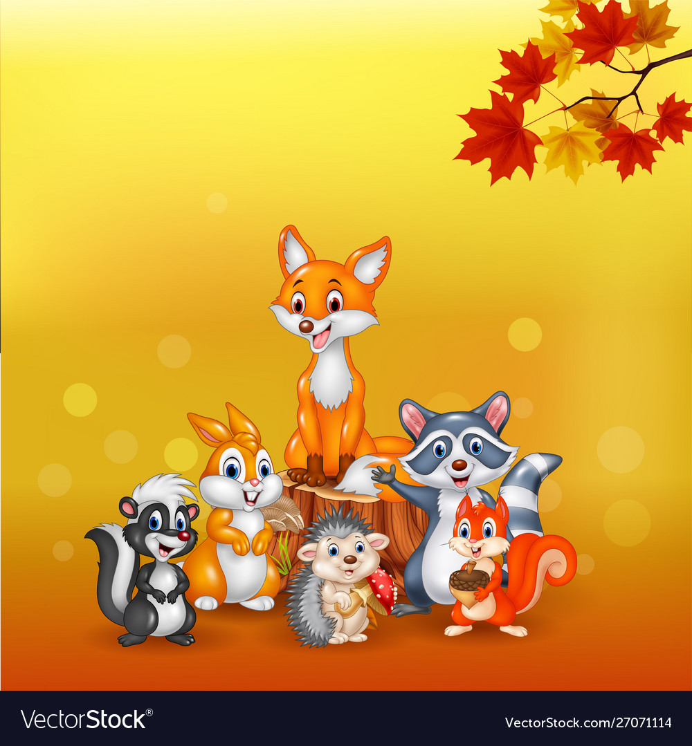 Cartoon wild animals with autumn background