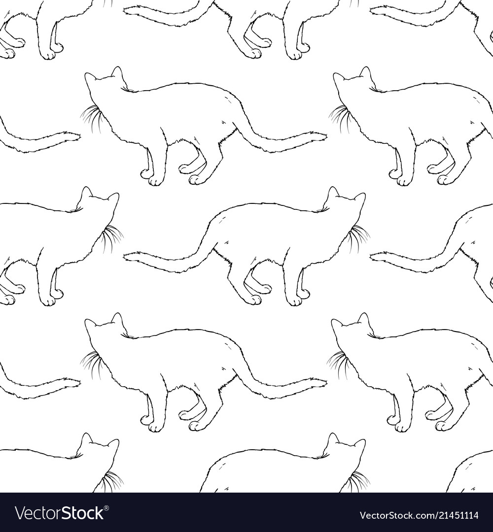 Cats seamless pattern coloring book page