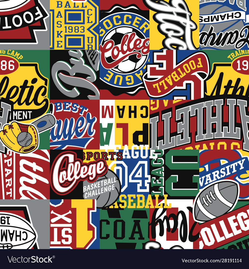 College sporting labels patchwork