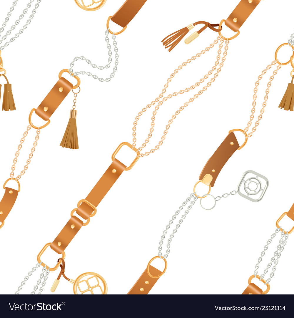 Fashion seamless pattern with chains and straps