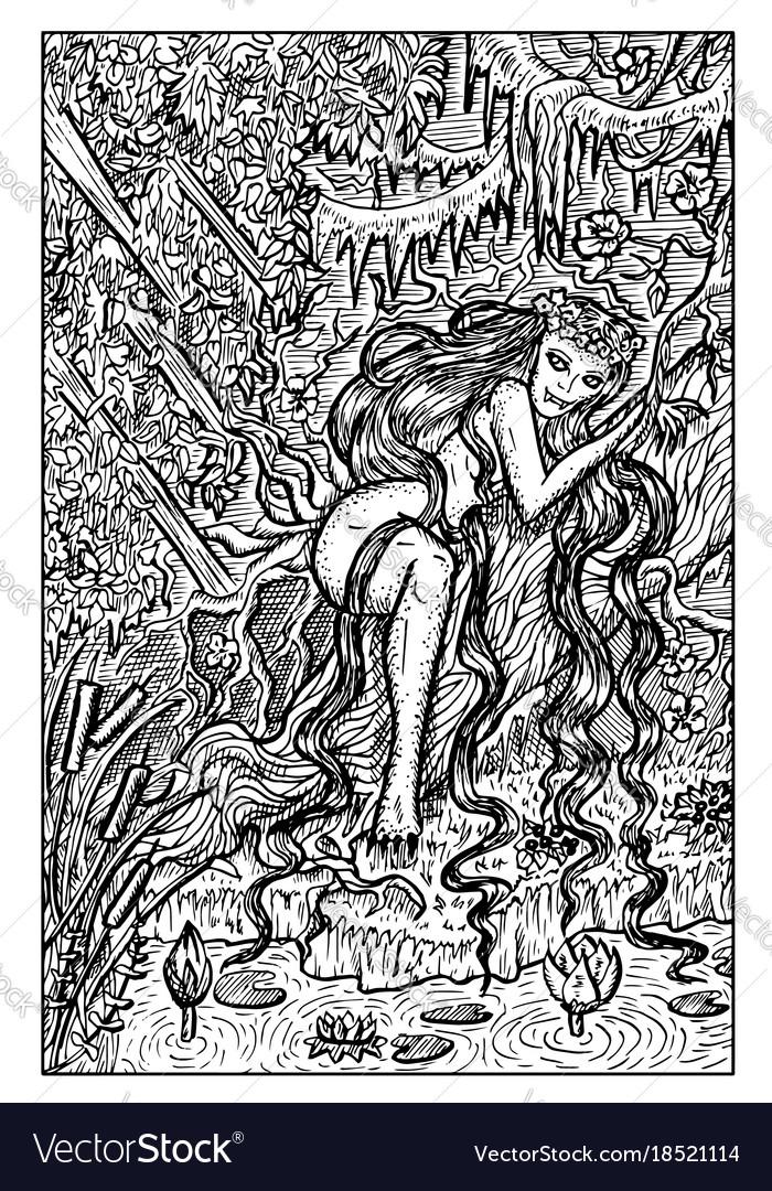 Genny greenteeth river hag engraved fantasy