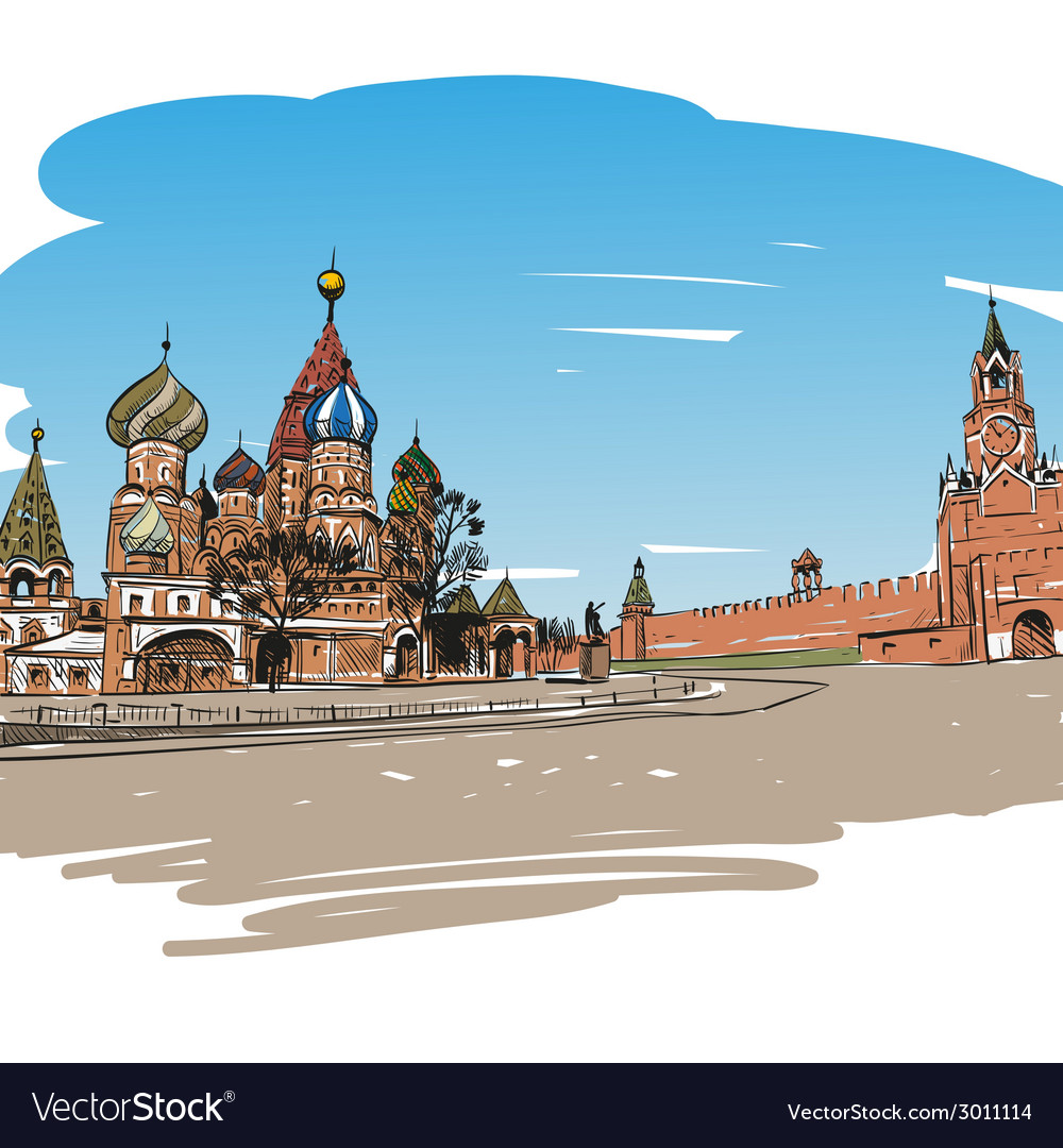 Moscow Saint Basils Cathedral drawing