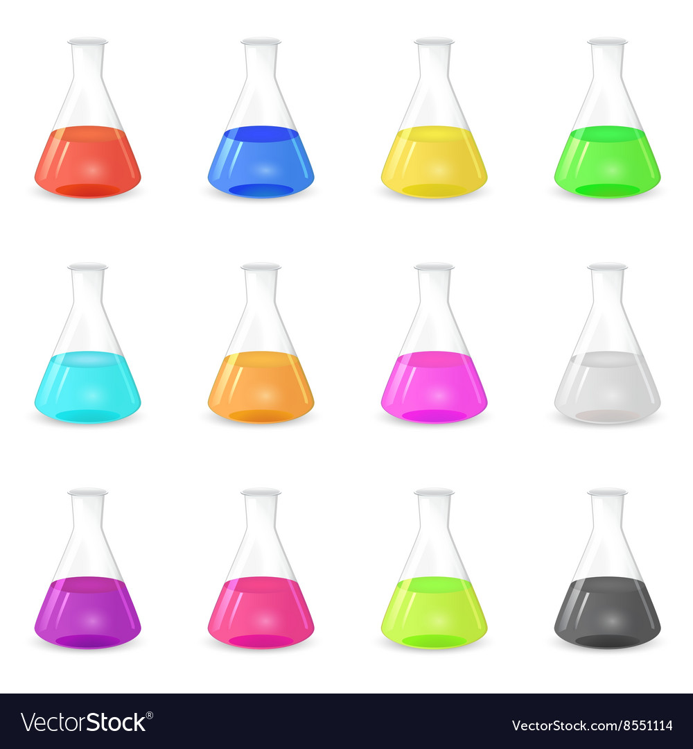 Multicolored chemical conical flasks vector image