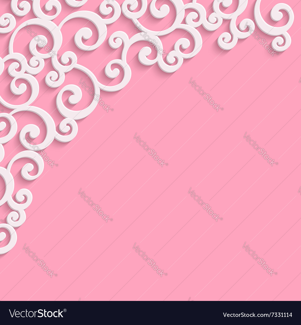 Pink 3d vintage invitation card with floral
