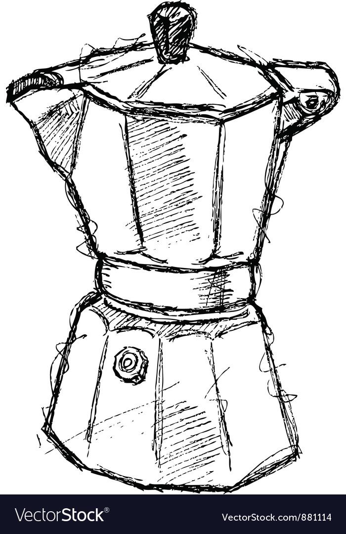 Scribble series - coffeemaker vector image