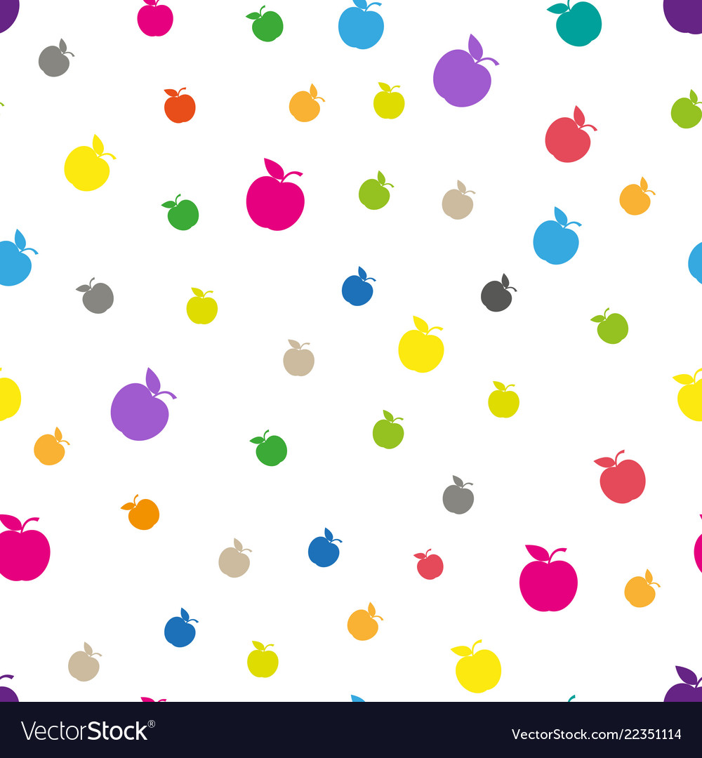 Seamless pattern with abstract color apples white