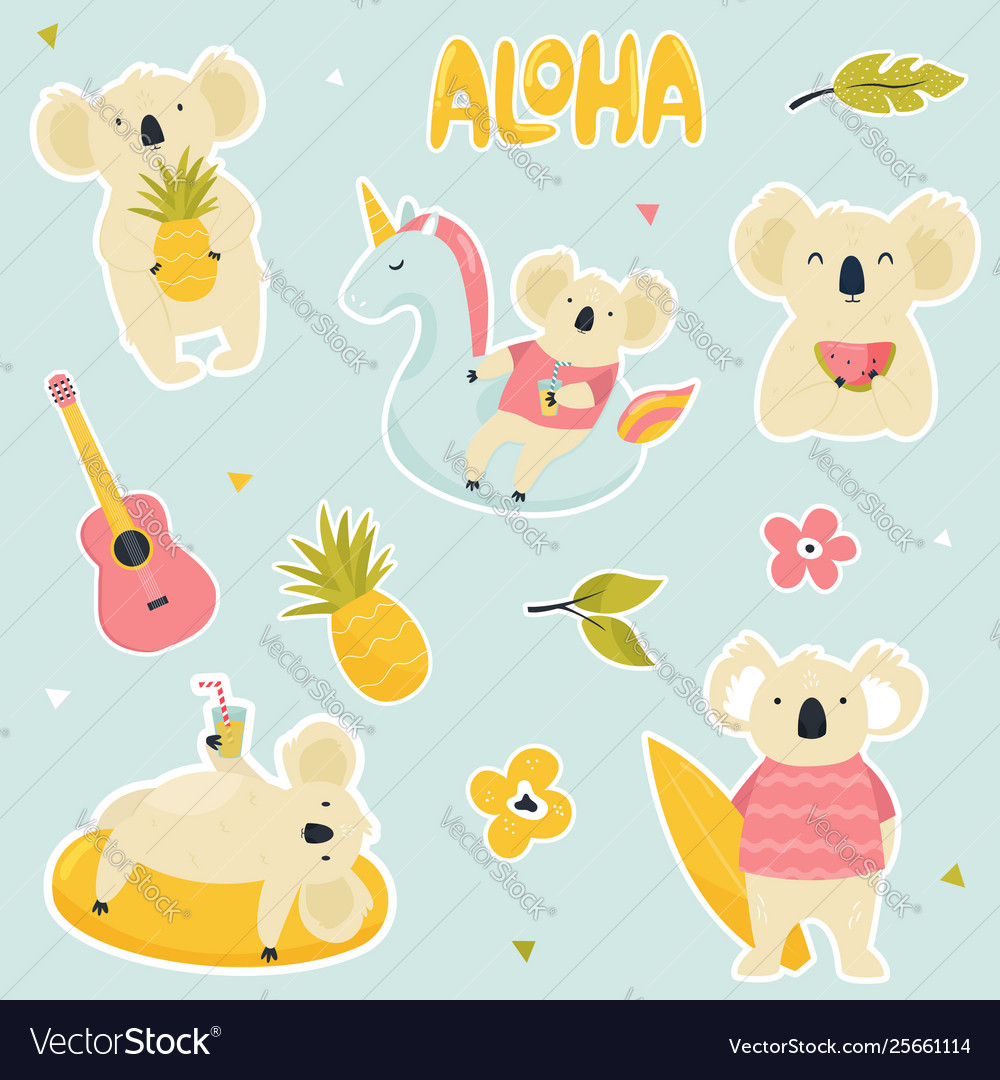 Set stickers with cute koalas