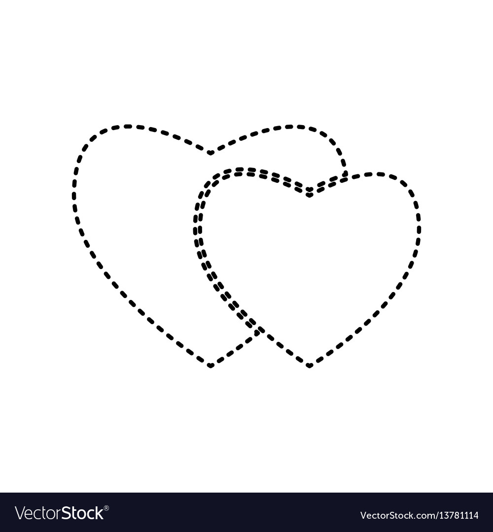 Two hearts sign black dashed icon on