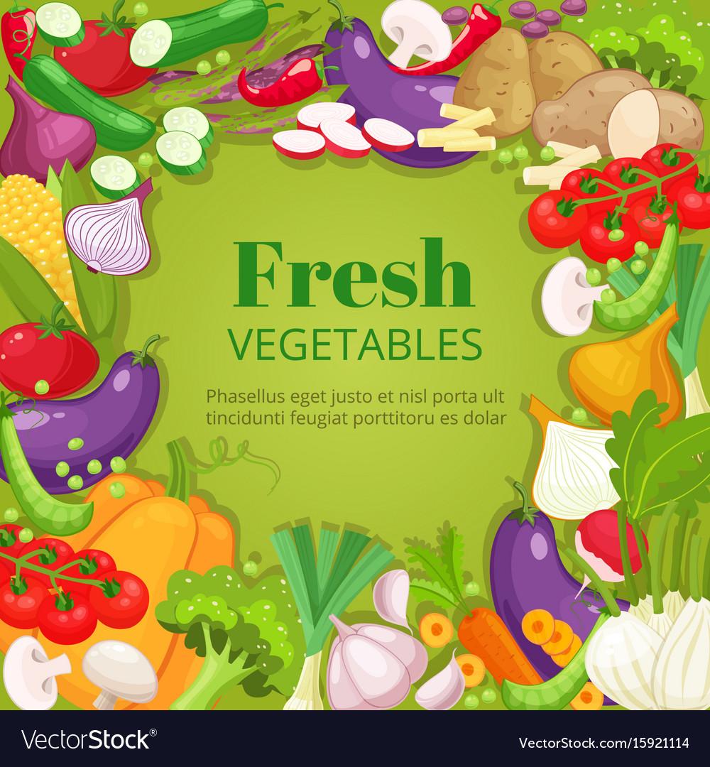Vegetables top view frame farmers market menu
