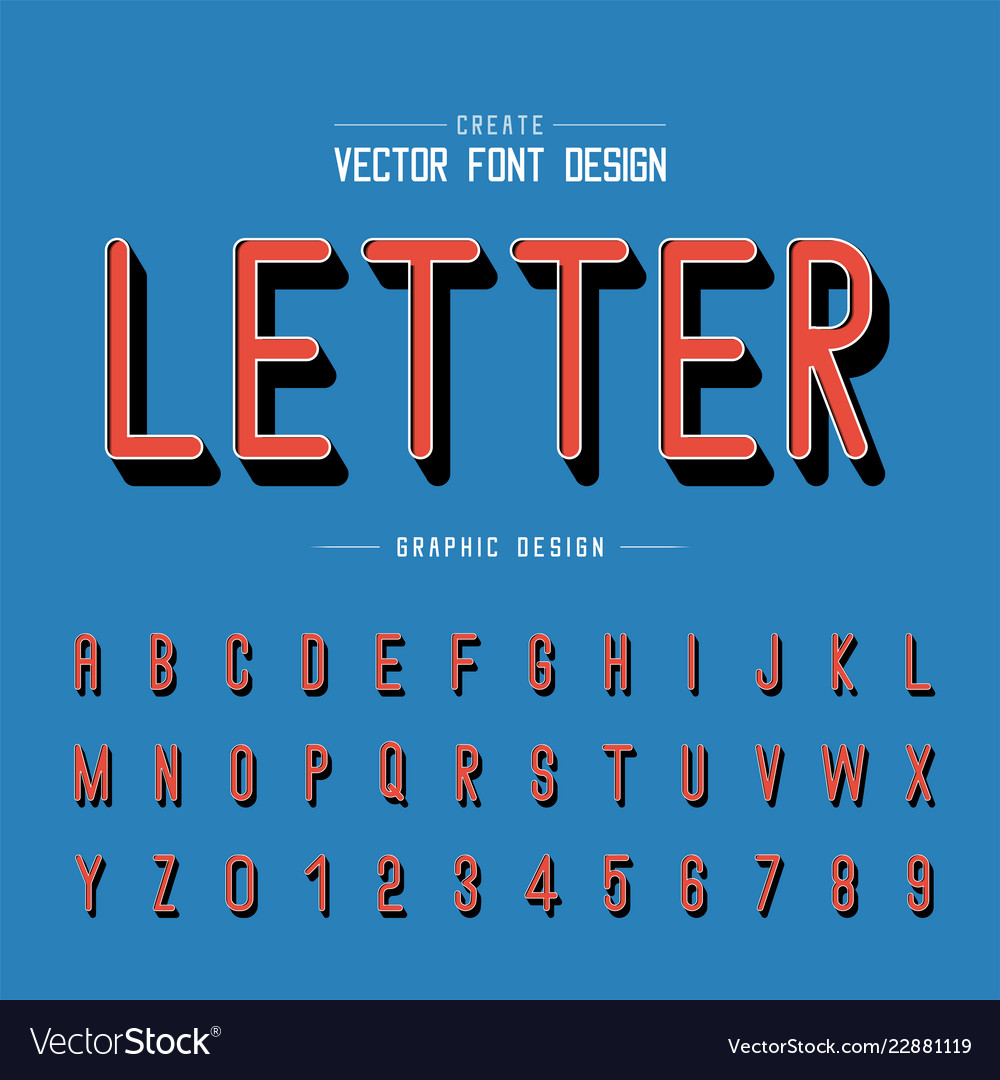 3d font and alphabet shadow letter style