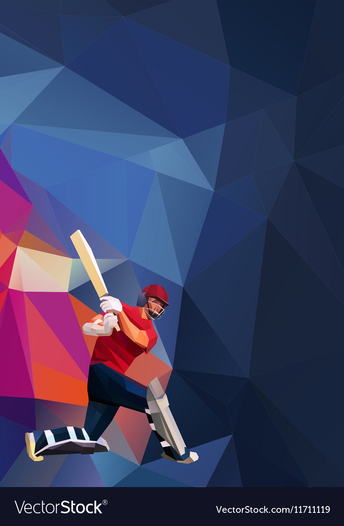Abstract cricket player polygonal low poly vector image