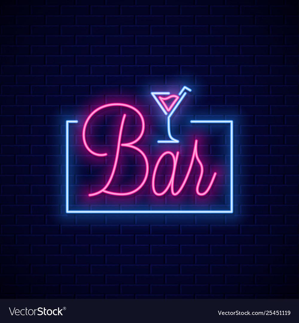 Bar neon sign neon banner cocktail bar on wall Vector Image