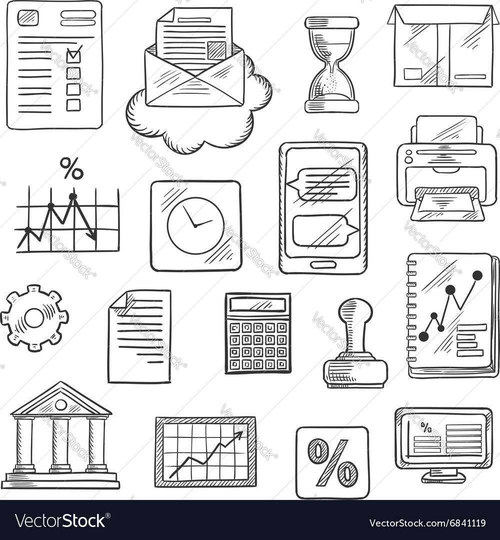 Business financial and office sketched icons