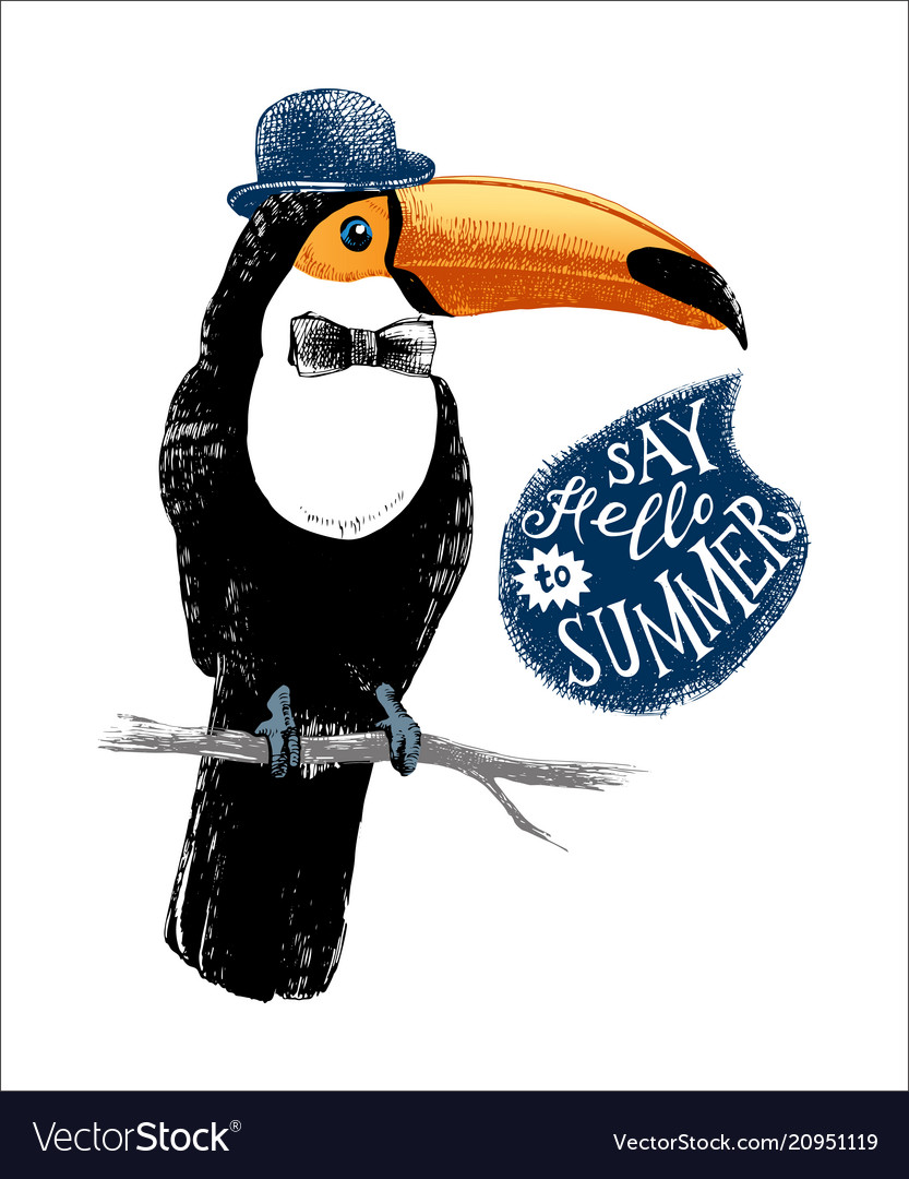Card with hand drawn toucan hipster