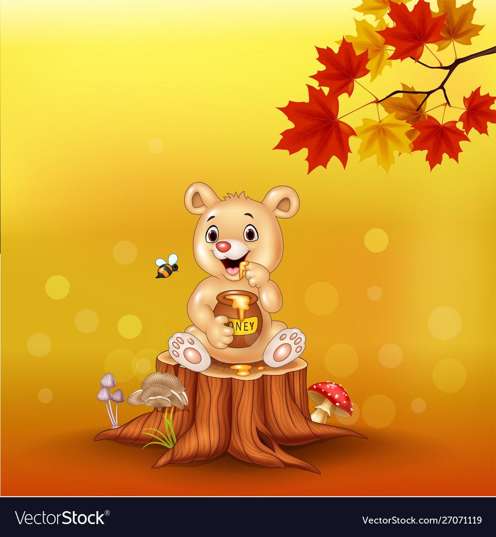 Cartoon babear holding honey pot on tree stump