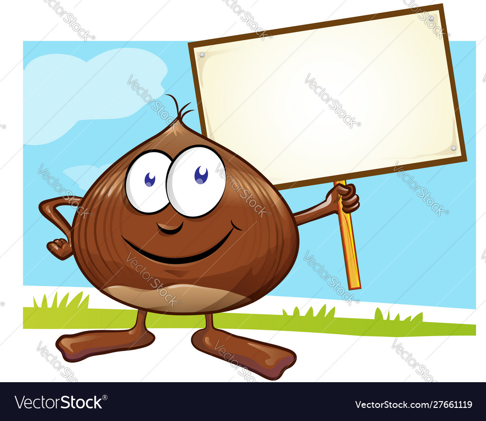 Chestnut cartoon with signboard on color
