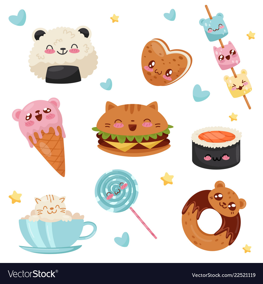 Cute kawaii food cartoon characters set desserts