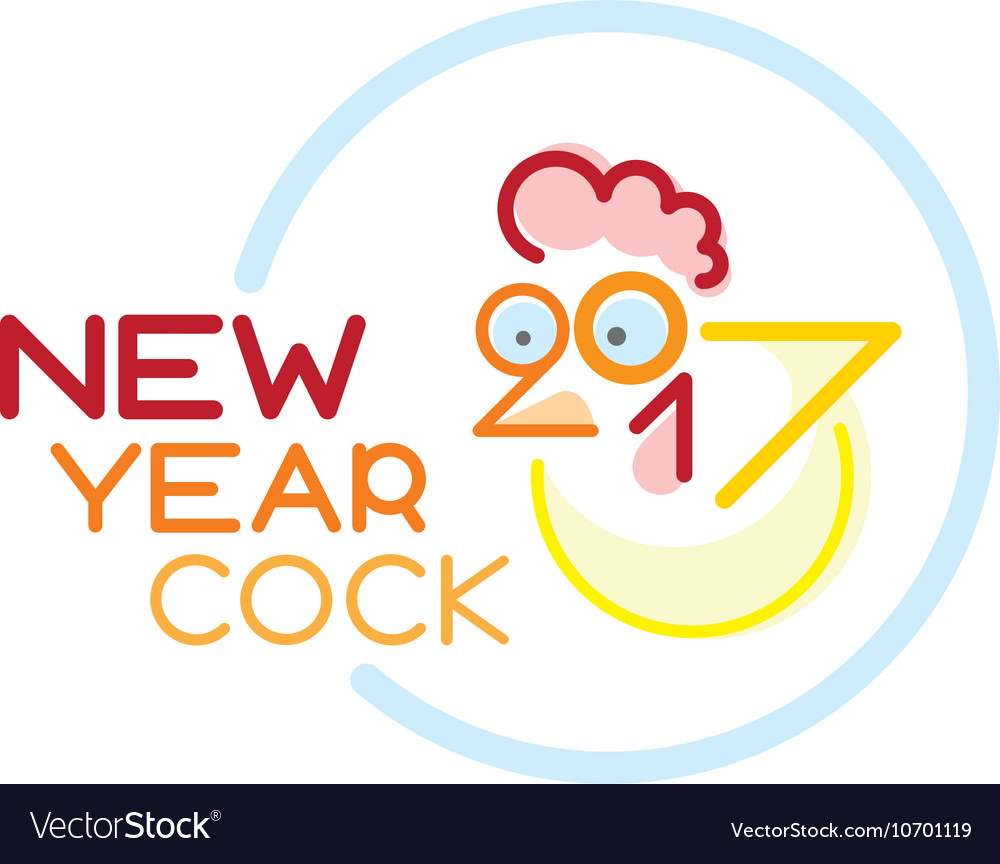 Doodle cock with 2017 new year