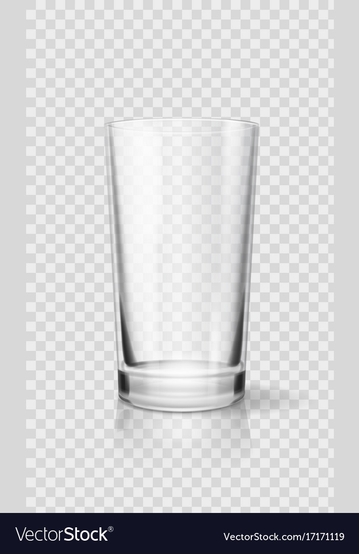 Empty realistic drinking glass cup transparent