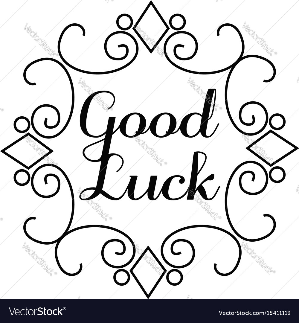 Good Luck Lettering In Hand Draw Frame Royalty Free Vector