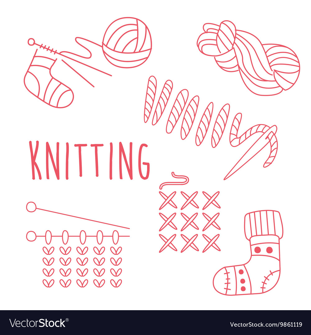 Knitting Related Object Set With Text