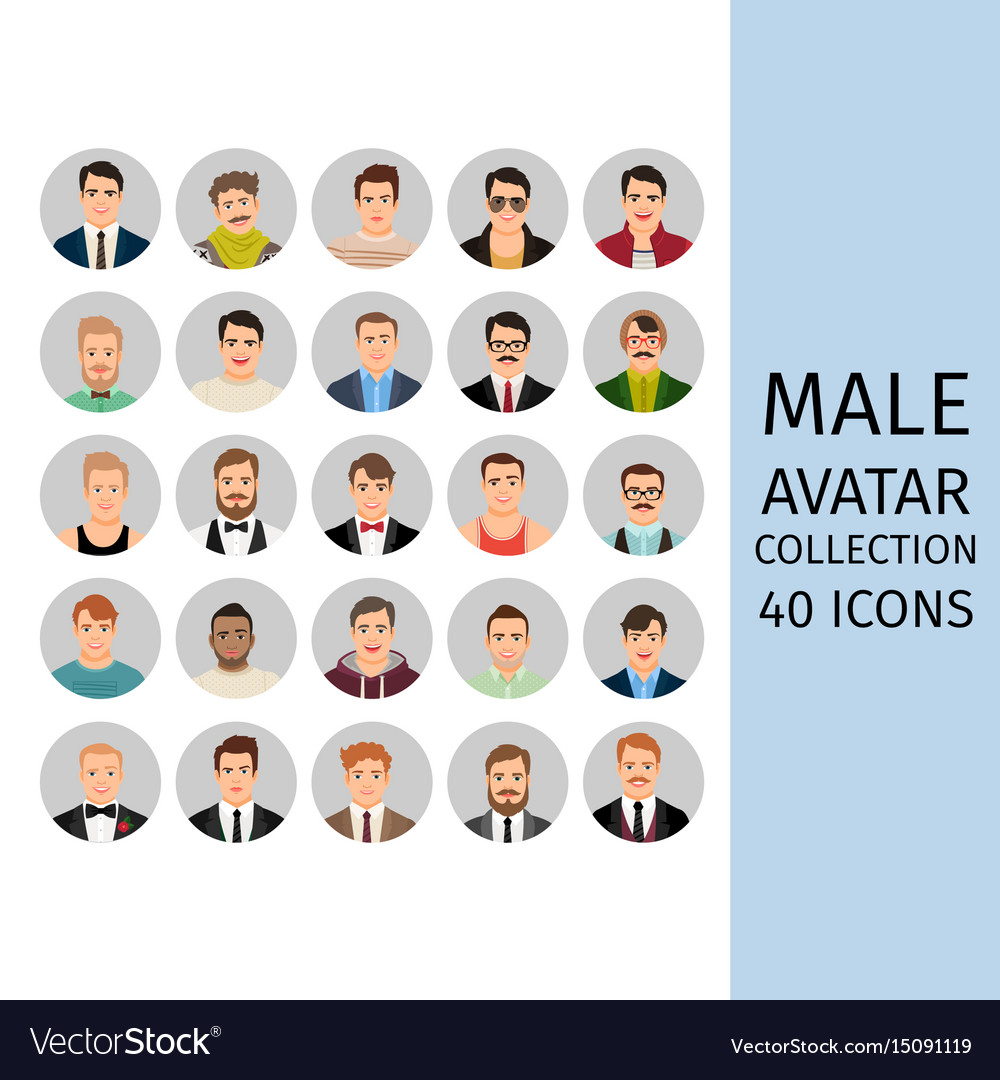 Male avatar collection icons set vector image